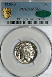 1930-s Buffalo Or Indian Head Nickel Pcgs And Cac Graded Ms65+ 41964202