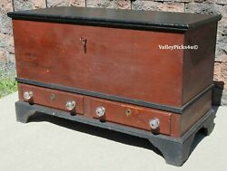 1800s Lancaster Pa Blanket Chest Trunk W Till Drawers Blown Knobs Crab Claw Lock
