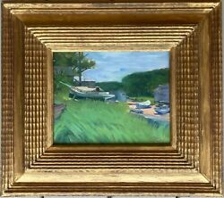 Wilson Irvine Oil-boats At Low Tide-palette And Chisel Club Label