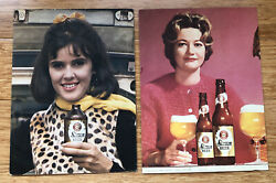 Vintage Simon Pure Beer Lot Of 2 Brewing Cardboard Sign Woman Girl Buffalo Ny
