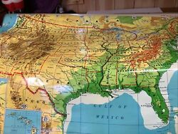 Vtg Cram's Wall Map Of The United States Pull Down School Classroom Large 63x56