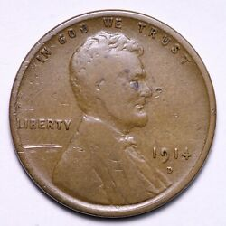 1914-d Lincoln Wheat Cent Penny Choice Fine Free Shipping E573 Tcek