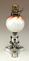 Very Rare If Not Unique Rainbow Satin Glass Mini Lamp With Dolphin Base.