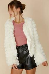 Womenand039s Ivory Fluffy Faux Fur Jacket Warm Casual Overcoat Outerwear