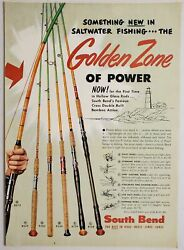 1954 Print Ad South Bend Golden Zone Of Power Fishing Rods Fresh And Salt Water