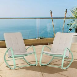 1pcs Outdoor Patio Metal Rocking Chair Padded Modern Rocker Chairs With Cushion