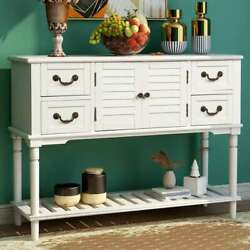 Retro Entryway Console Table Sideboard Sofa Side Table W/ Shutter Doors Drawers