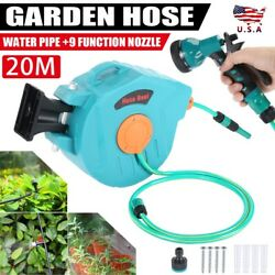 20m Garden Hose Automatic Rewind Retractable Wall-mounted Hose Reel Tool Usa