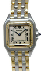 Small Panthere 3 Row 18k Yg And Steel Ivory Dial 22mm Quartz Watch 16692