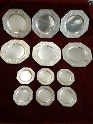Eg Webster And Sons Silver Plated 6 Dinner And 6 Dessert Plates Ornate Dutch Revival