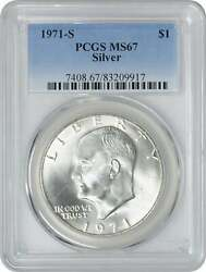 1971-s Silver Eisenhower Dollar Ike Ms67 Pcgs 67 Mint State
