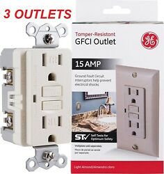 Lot Of 3 Ge Gfci 15 Amp Outlet Light Almond - New +sealed - No Wallplate