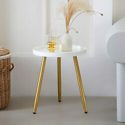 Round Side Table 18 H X 15andrdquod Accent Table Nightstand Coffee Table White Wooden
