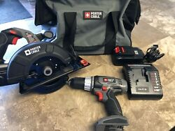 Porter Cable Drill And Circular Saw 18v With 2 Batteries And Charger