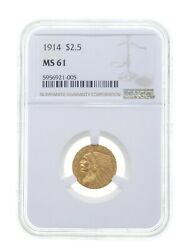 Ms61 1914 2.50 Indian Head Gold Quarter Eagle - Graded Ngc 4098