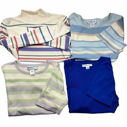 Vintage Pendelton Silk Blend Shirts Stripes Solid Women's Small Lot Of 4