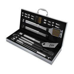 16pc Grill Set With Spatula Tongs Skewers Case Barbecue Tools Set Silver