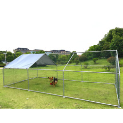 Large Metal Chicken Dog Coop Spire Shaped Hen Run House With Cover Waterproof