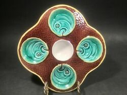 Oyster Plate Antique Wedgwood Majolica 4 Wells Fish Heads On Scales Oyster Plate