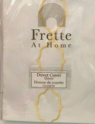Frette Seal Embroidery Queen Duvet Cover White Yellow Made In Portugal