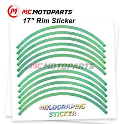 Green J17 17 Rim Decals Holographic Stickers For Scrambler Cafe Racer 2017-2021