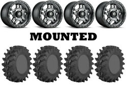Kit 4 Sti Outback Max Tires 32x10-14 On Fuel Anza Gray D558 Wheels Pol