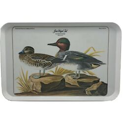 Vintage Audubon Print Green Winged Teal Duck Melamine Serving Tray Italy