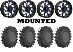 Kit 4 Sti Outback Max Tires 35x9-20 On Fuel Runner Blue D778 Wheels Can