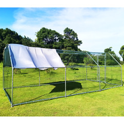 Chicken Rabbit Gog Large Metal Hutches Coop Cage Hen Run House With Waterproof