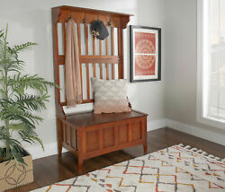 Wooden Hall Tree Coat Hook Rack With Storage Bench 18 In. Seat Walnut Finish New