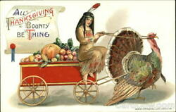 Indians All Thanksgiving Bounty Be Thine Winsch Antique Postcard Vintage