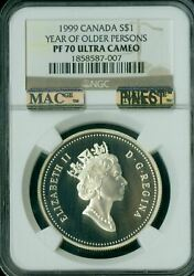 1999 Canada Older Persons Silver Dollar Ngc Pf70 Uhcam Mac Finest Spotless
