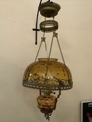 Vintage Antique Hanging Ceiling Electric Oil Lamp W/ Amber Glass Shade Font