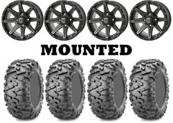 Kit 4 Maxxis Bighorn 2.0 Tires 28x9-14/28x11-14 On Frontline 308 Matte Gray H700