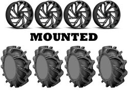 Kit 4 High Lifter Outlaw 3 Tires 44x9.5-24 On Fuel Reaction Black D753 Pol