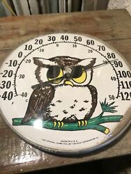 Vintage Jumbo Dial Owl Thermometer Made In U.s.a. Ohio Thermometer Co.