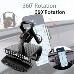 360anddeg Auto Car Dashboard Mobile Phone Holder Gps Clip To Hide Parking Number