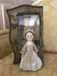 """Queen Anne Wooden Doll By Alena Sinel Approx 8"""" And Old Sedan Chair"""