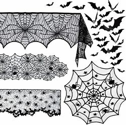 5 Pack Halloween Spider Decorations Sets -halloween Fireplace Mantel Scarf