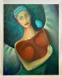 Surrealist Vintage Original Painting Blue Woman With Two Exposed Hearts And Flower