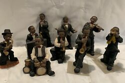 Vintage Collection 9 African American Jazz Band Performers Resin Small Figurines
