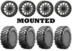Kit 4 Maxxis Carnivore Tires 31x10-15 On System 3 Sb-5 Beadlock Matte Gray Can