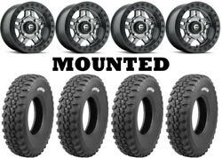 Kit 4 Tensor Ds30 Tires 30x10-14 On Fuel Anza Beadlock Gray D918 Wheels Can