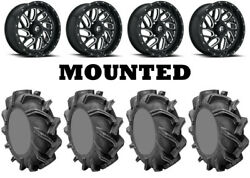 Kit 4 High Lifter Outlaw 3 Tires 44x9.5-24 On Fuel Triton Gloss Black D581 Can