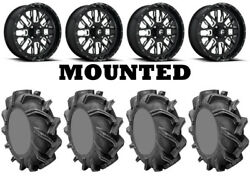Kit 4 High Lifter Outlaw 3 Tires 44x9.5-24 On Fuel Stroke Gloss Black D611 1kxp