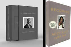 Barack Obama And Michelle Obama Dual-signed Deluxe Ed Promised Land + Becoming