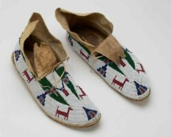 Sioux Style 8.5 Men's Sized Suede Leather Indian Beaded Cheyenne Native Moccasin