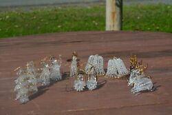 Assortment Of 11 Spun Glass Christmas Ornaments With Gold Accents