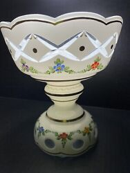 """Bohemian White Cut to Clear w Hand Painted Beautiful Flowers 8 1 4"""" Tall"""