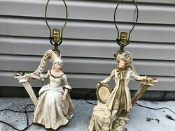 Rare1958 Vintage Lamps Universal Statuary Corp Chicago Victorian Chalkware